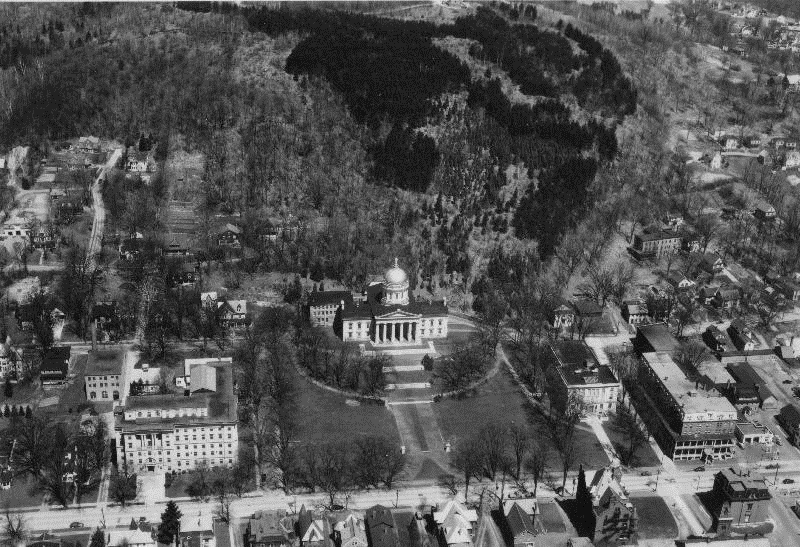 An aerial view of Hubbard Park taken in 1955