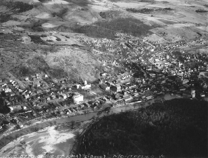 An aerial view of Hubbard Park that shows the area bare of trees in 1927