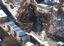 An aerial view of the Cliff and Elm Street area rockslide