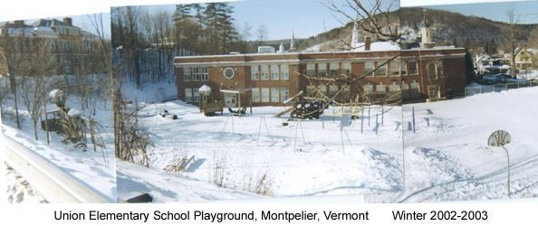 A panoramic image of Union Street Elementary School