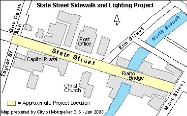 State Street Sidewalk and Lighting Project Area Map