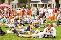 Crowd lounging on the grass at Phoenix Fest. Photograph courtesy of Jeb Wallace-Brodeur of the Times