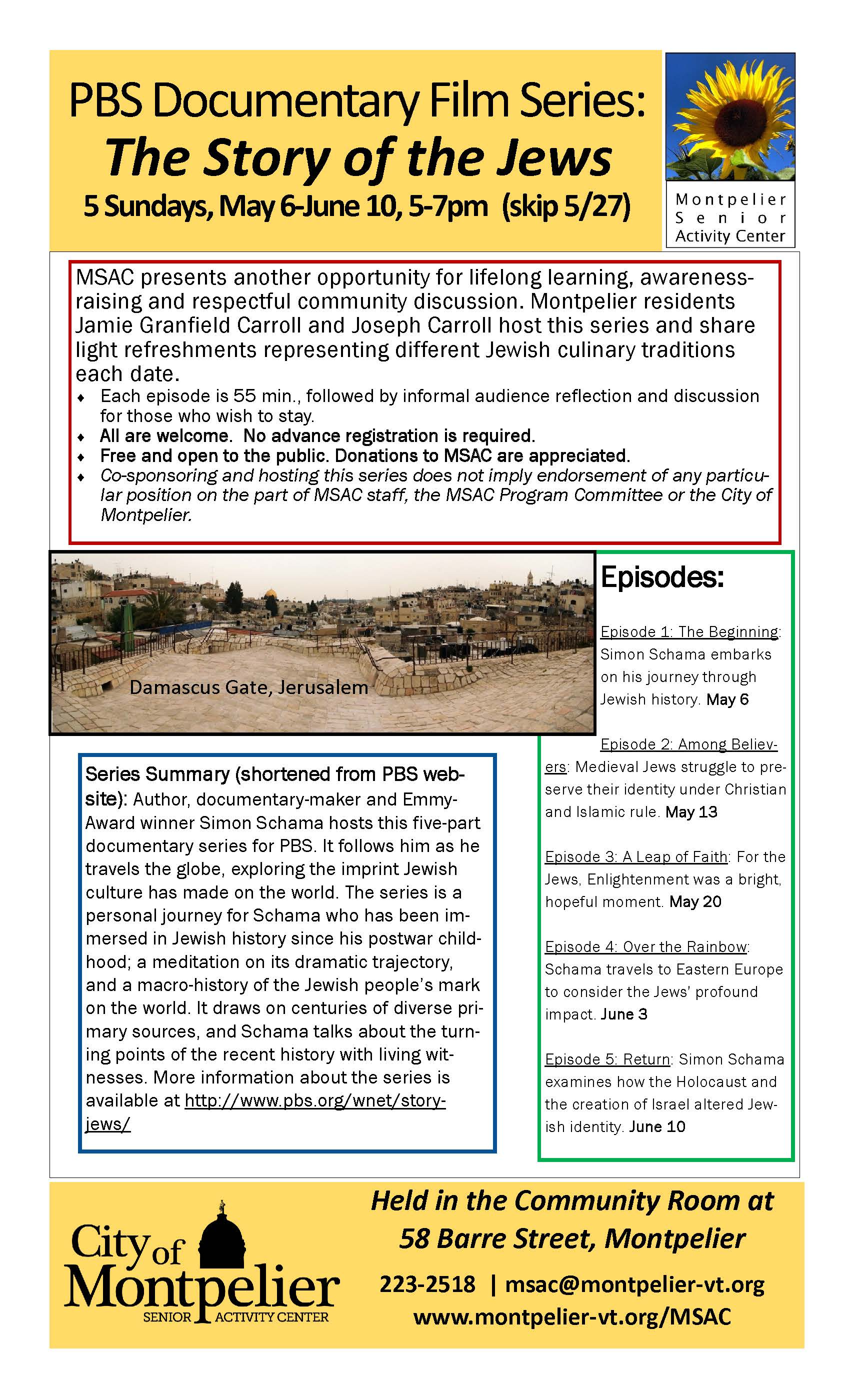 PBS Film Series - Story of the Jews - at MSAC May-June 2018