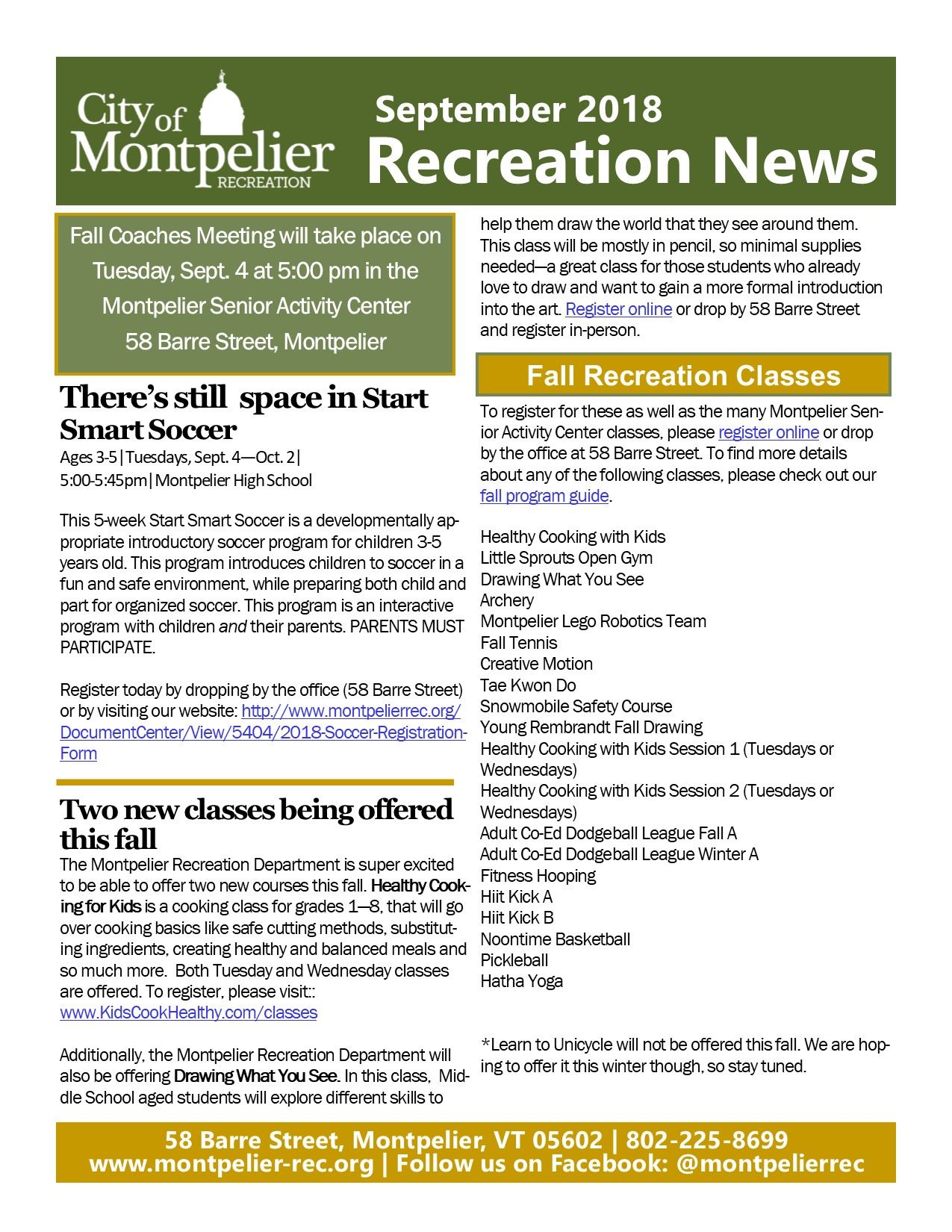 Sept. Rec Newsletter Snapshot