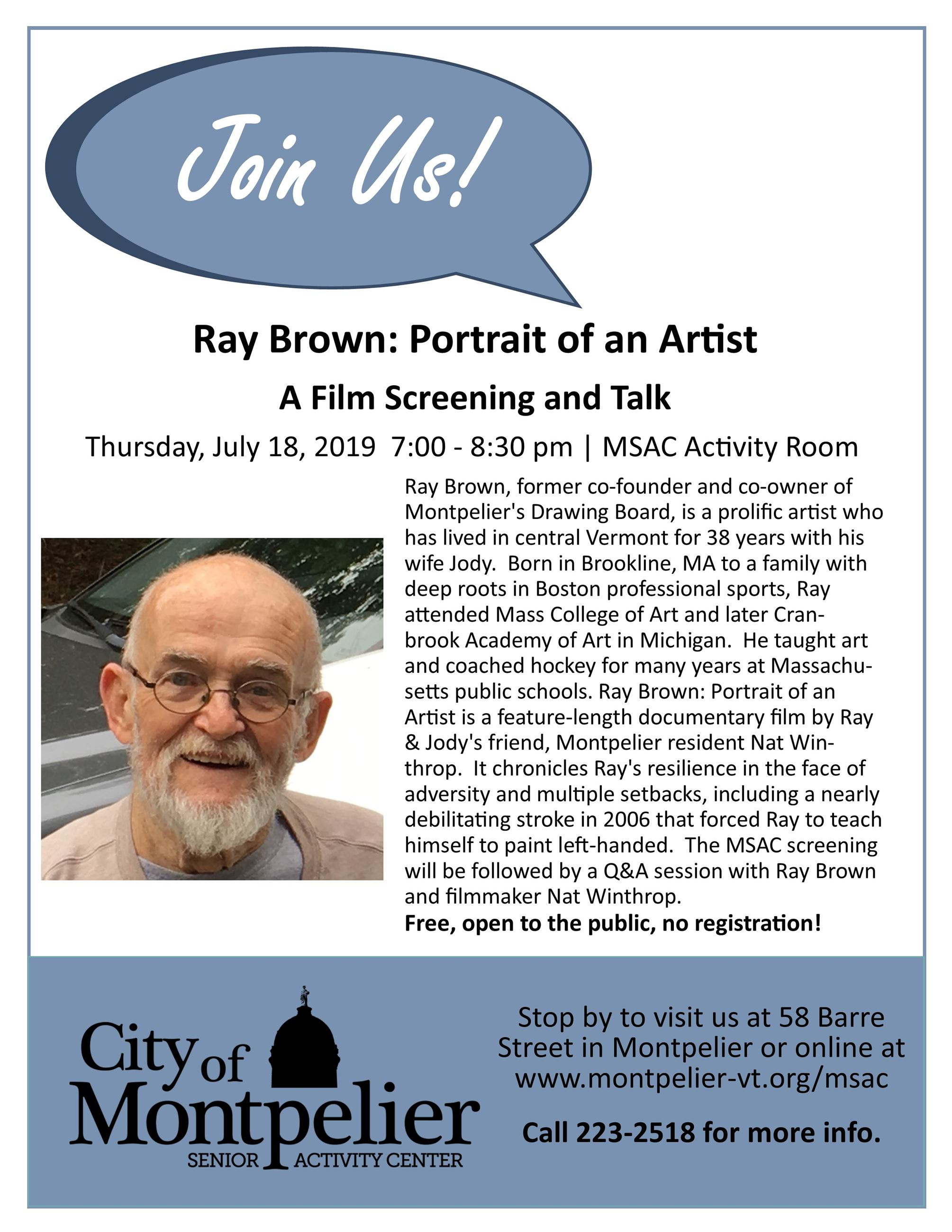 Join Us - Ray Brown, A portrait of an artist