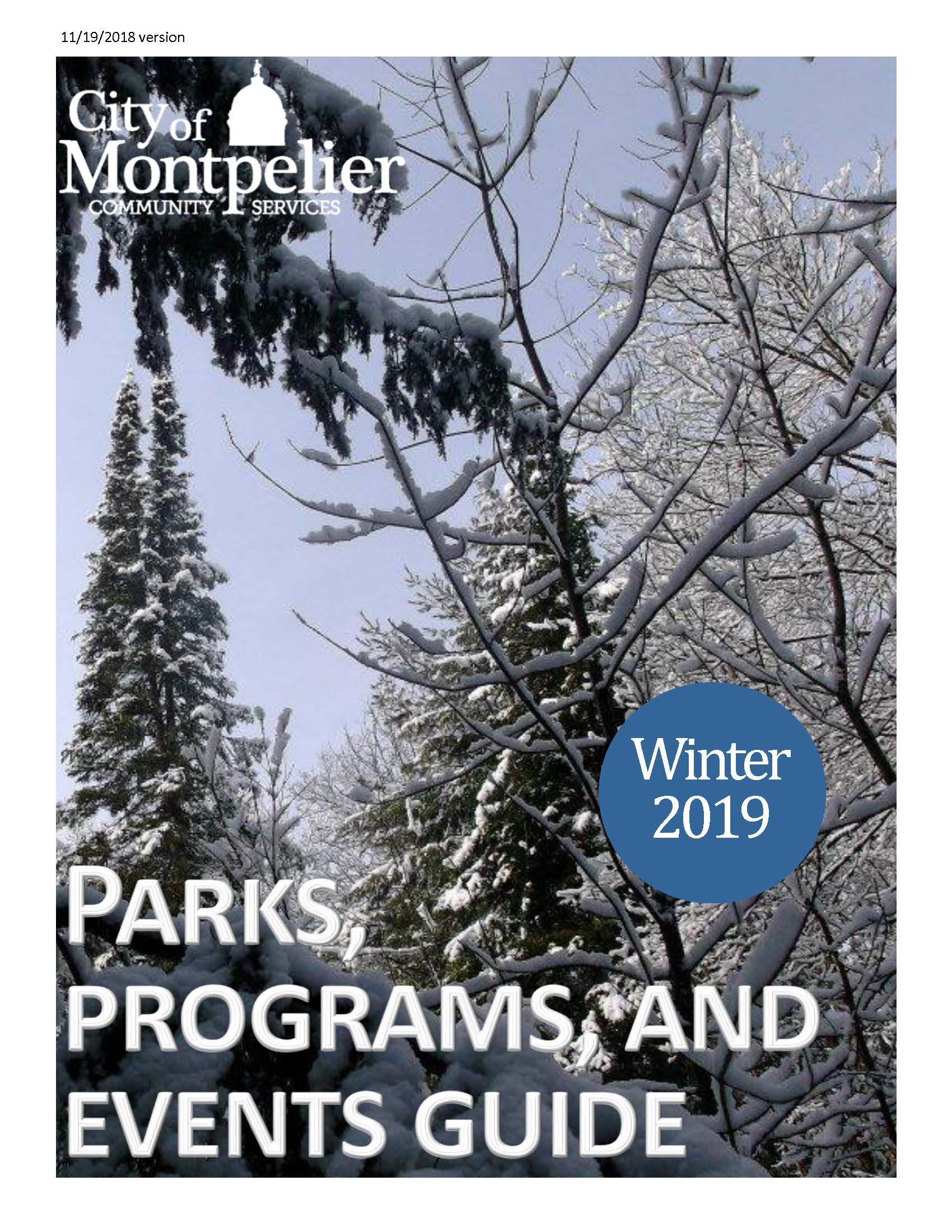 Cover picture of Community Services Winter 2019 Program Guide